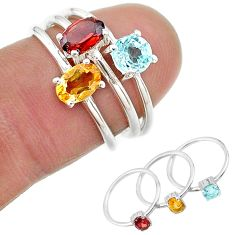 2.81cts natural yellow citrine garnet topaz 925 silver 3 rings size 6 t17745