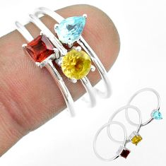 2.97cts natural yellow citrine garnet topaz 925 silver 3 rings size 8 t51165