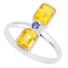 3.42cts natural yellow citrine iolite 925 sterling silver ring size 10 r77209