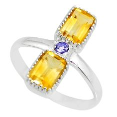 3.59cts natural yellow citrine iolite 925 sterling silver ring size 10 r77219