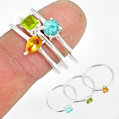3.13cts natural yellow citrine peridot 925 silver stackable ring size 8.5 r79892
