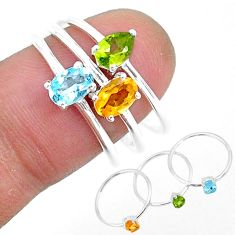 2.77cts natural yellow citrine peridot 925 sterling silver 3 rings size 8 r93108