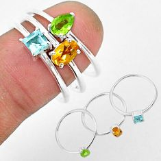 2.76cts natural yellow citrine peridot 925 sterling silver 3 rings size 8 r93143