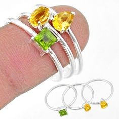 2.69cts natural yellow citrine peridot 925 sterling silver 3 rings size 8 t17646