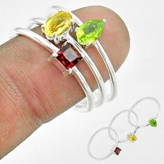 2.97cts natural yellow citrine peridot garnet 925 silver 3 rings size 9 t51492