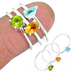 3.13cts natural yellow citrine peridot topaz 925 silver 3 rings size 6.5 r92482