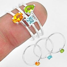 2.91cts natural yellow citrine peridot topaz 925 silver 3 rings size 7.5 r93123