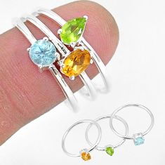 3.04cts natural yellow citrine peridot topaz 925 silver 3 rings size 9 r93098
