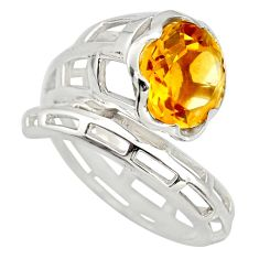 5.75cts natural yellow citrine round 925 silver solitaire ring size 8.5 r25783