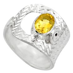 2.21cts natural yellow citrine silver adjustable solitaire ring size 7 d46467