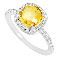 4.53cts natural yellow citrine topaz 925 silver solitaire ring size 7 r84042