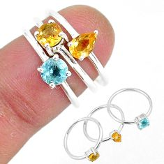 3.13cts natural yellow citrine topaz 925 sterling silver 3 rings size 6 r93021