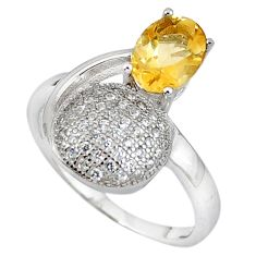 Natural yellow citrine topaz 925 sterling silver ring jewelry size 7.5 c17734