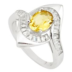 Natural yellow citrine topaz 925 sterling silver ring size 7.5 c22289
