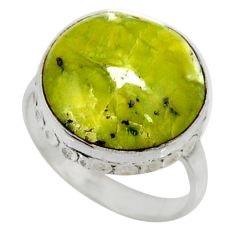 11.66cts natural yellow lizardite 925 silver solitaire ring size 8.5 r28387