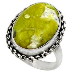 13.50cts natural yellow lizardite 925 silver solitaire ring size 7.5 r28395