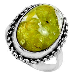 12.36cts natural yellow lizardite 925 silver solitaire ring size 8.5 r28397