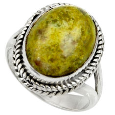 11.95cts natural yellow lizardite 925 silver solitaire ring size 7.5 r28400