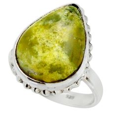 14.72cts natural yellow lizardite 925 silver solitaire ring size 8.5 r28771
