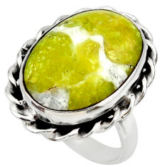 13.24cts natural yellow lizardite 925 silver solitaire ring size 7.5 r28772