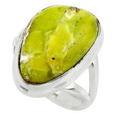 13.67cts natural yellow lizardite 925 silver solitaire ring size 6.5 r28777