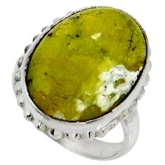 14.20cts natural yellow lizardite 925 silver solitaire ring size 7 r28389