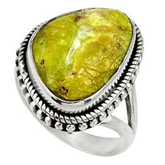 13.46cts natural yellow lizardite 925 silver solitaire ring size 7 r28394