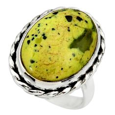 14.70cts natural yellow lizardite 925 silver solitaire ring size 7 r28778