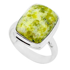 8.10cts natural yellow lizardite 925 silver solitaire ring size 7 r95743