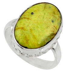 12.22cts natural yellow lizardite 925 silver solitaire ring size 8 r28386