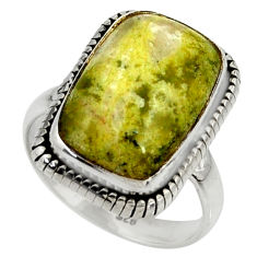 12.04cts natural yellow lizardite 925 silver solitaire ring size 8 r28388