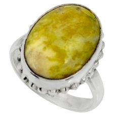 12.01cts natural yellow lizardite 925 silver solitaire ring size 8 r28392