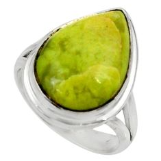 12.83cts natural yellow lizardite 925 silver solitaire ring size 8 r28393