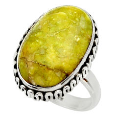 12.83cts natural yellow lizardite 925 silver solitaire ring size 8 r28774