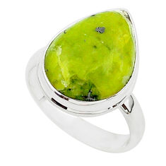 12.56cts natural yellow lizardite 925 silver solitaire ring size 8 r95741