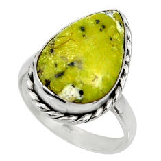 12.52cts natural yellow lizardite 925 silver solitaire ring size 9 r28382