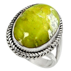 13.79cts natural yellow lizardite oval 925 silver solitaire ring size 7.5 r28385