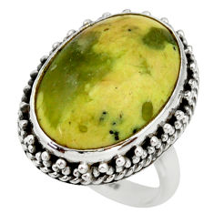 16.92cts natural yellow lizardite oval 925 silver solitaire ring size 7 r28780