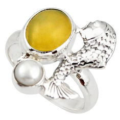 5.53cts natural yellow olive opal pearl 925 silver fish ring size 7 d46032