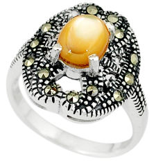 Natural yellow pearl marcasite 925 sterling silver ring jewelry size 7.5 c22968