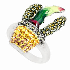 1.75cts natural yellow topaz marcasite enamel 925 silver ring size 7.5 c21391