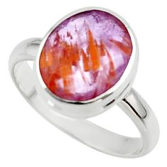 5.28cts nfaceted cacoxenite super seven 925 silver ring size 8 r42682