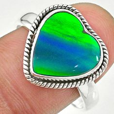 3.98cts northern lights aurora opal (lab) silver solitaire ring size 9 t23478