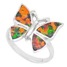 Orange australian opal (lab) 925 silver butterfly ring jewelry size 6 c21673