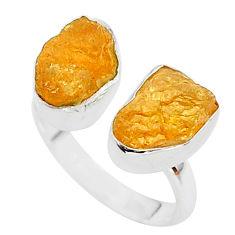 10.31cts orange tourmaline raw 925 silver adjustable ring size 7.5 t35103