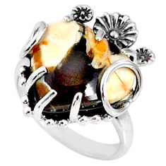 10.18cts peanut petrified wood fossil 925 silver heart ring size 6 r67514
