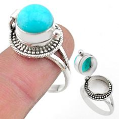5.93cts peruvian amazonite 925 silver poison box ring jewelry size 7 t45410