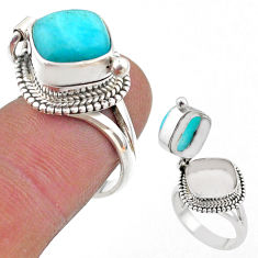 5.63cts peruvian amazonite 925 silver poison box ring jewelry size 7 t45418
