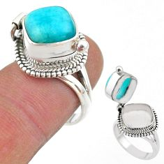 5.84cts peruvian amazonite 925 silver poison box ring jewelry size 7 t45419