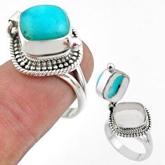 5.18cts peruvian amazonite silver poison box ring jewelry size 6.5 t45413